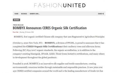 BOMBYX Announces CERES Organic Silk Certification